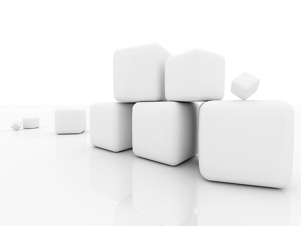 Cubes in 3D isolated over a white background