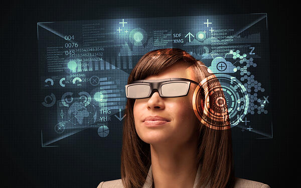 Young woman looking with futuristic smart high tech glasses concept