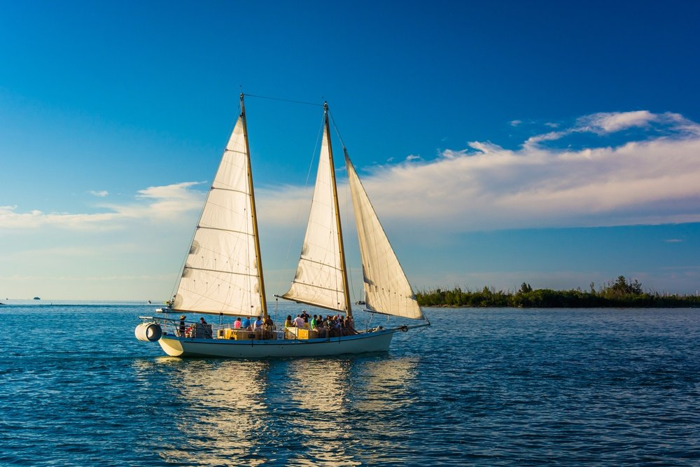 Sailboat seen from Key West, Florida.